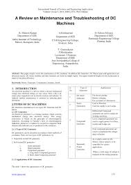 pdf a review on maintenance and troubleshooting of dc machines