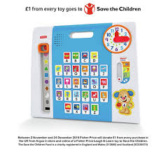 head to argos and you will see the toys included from the fisher laugh and learn range in the save the children caign they are marked with the
