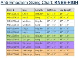 Ted Hose Size Chart Ems Knee High Anti Embolism Stockings Medline Industries Inc