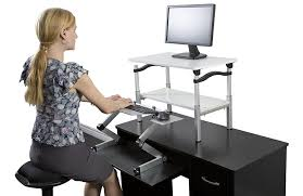 lift standing desk conversion kit tall portable affordable ergonomic adjule height sit to stand up converter riser negative tilt keyboard tray