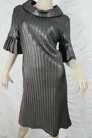 Liza Emanuele Black Silver Coated Turtleneck Winter Knit Dress Size 12 Euc