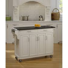 49 inch black granite top kitchen cart in white