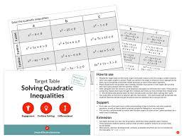 solving quadratic inequalities target table