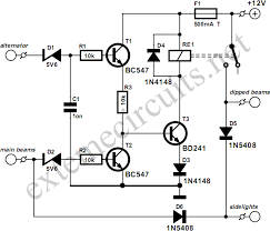 top circuits page 677 next gr this circuit ensures that you will never again forget to switch on the lights of your car as soon as the engine is running the dipped beams and the