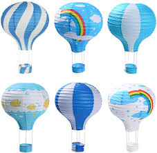 Hot Air Balloon Paper Lanterns for Wedding Birthday Engagement Christmas  Party Decoration Blue Set Pack of 6 - - Amazon.com