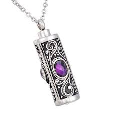 hooami purple crystal flower cylinder urn necklace cremation ashes jewelry memorial pendant