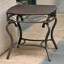 wicker patio side table in chocolate
