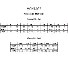 Montage Size Chart Montage By Mon Cheri Size Chart Fashion Dresses