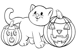 Small Picture Cat Pumpkins Free Coloring Page Animals Halloween Kids