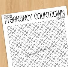 Printable Pregnancy Countdown Calendar 280 Days 9 Month Maternity Due Date Pregnant Baby Countdown Printable Baby Calendar Print