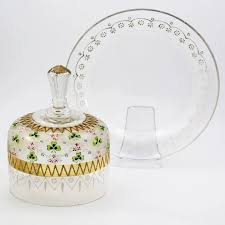 large antique clear glass cheese dome enamelled green and pink clower flowers