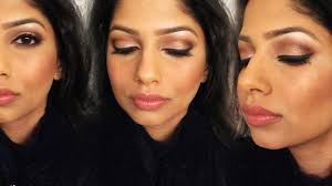 gold glitter party makeup for indian brown olive skin