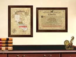 california flag map vintage design wall