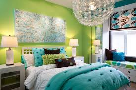 Teens Room Teen Bedroom Decor With Adorable Styles And Pretty Girl Colors  Blue Cotton Comforter Set Green Wall Intended For