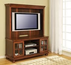 Short Media Cabinet Furniture High Brown Polished Wooden Television Cabinets With