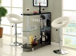 furniture of america numbi modern style black lacquered finish and glass mini bar server island table