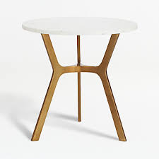 elke round marble end table with brass