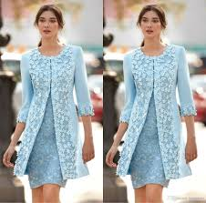 Light Blue Dresses For Mother Of The Bride Chic Light Blue Mother Of Bride Dresses With Jacket 3d Applique Jewel 3 4 Sleeve Knee Length Mother Dress Capped Wedding Guest Gowns Bride Mother