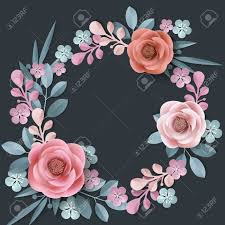 Paper Flower Frame Summer Background With A Wreath Of Abstract Paper Flowers Floral