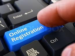 Online Registration Written On Blue Stock Image