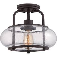 quoizel trg1712oz old bronze trilogy 1 light 12 wide semi flush ceiling fixture with seedy clear glass lightingdirect com
