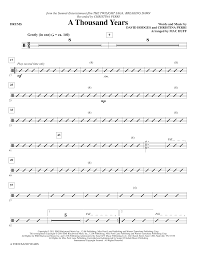 A Thousand Years Sheet Music A Thousand Years Arr Mac Huff Drums By Christina Perri Choir Instrumental Pak Digital Sheet Music