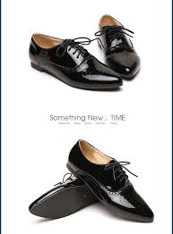 women white flat shoes lace up pointed toe black patent leather brogues women loafers british style