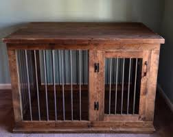 Custom Double Dog Kennel Crate Furniture Hinged Coffee or Entry