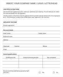 Printable Sample Job Applications Generic Application Template Kazakia Info