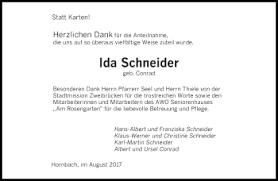 Traueranzeigen von Ida Schneider   Saarbruecker-Zeitung.Trauer.de