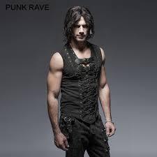 <b>PUNK RAVE</b> Black <b>Punk Rock</b> Cotton Leather Belt Sleeveless Man ...