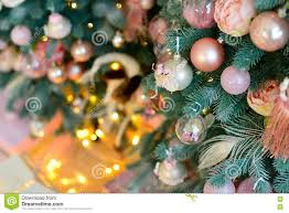 Light Pink And Blue Christmas Decorations Decorated Christmas Tree With Vintage Pink Balls And Light
