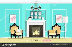 Classic Vintage Stil Möbel Set In Einem Wohnzimmer Kamin