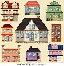 different types of houses different types houses buildings map other stock vector 368289227