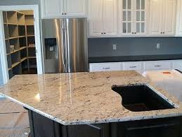 kitchen island close up. Delicatus White Granite Kitchen A Close Up Of The Cut Out For Sink In This Island F