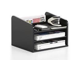 fitueyes wood desk organizer desktop shelf office supplies black file holder drawers do303501wb