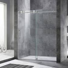 woodbridge frameless sliding shower door 56 60 width 76 height chrome 680147249892