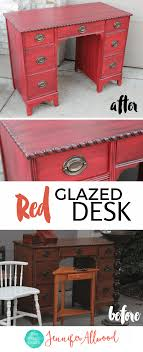 painted red furniture. Red Glazed Desk Makeover By Jennifer Allwood | HOw To Paint Furnitiure Painted Furniture
