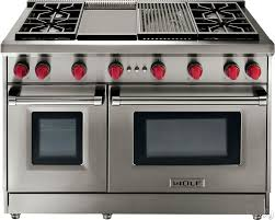 gas kitchen ranges with double ovens. wolf pro-style gas range with 6 dual-stacked sealed burners, griddle, cu. convection large oven, infrared broiler, red control knobs and island trim: kitchen ranges double ovens