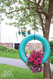 12 upcycled tire hanging flower planter