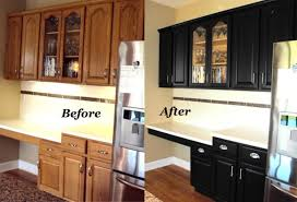 paint kitchen cabinets before and afterOak Kitchen Cabinets Painted Black Before And After  Nrtradiantcom
