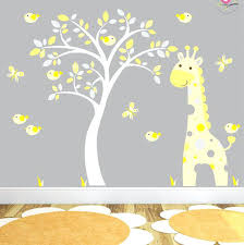 baby nursery yellow grey gender neutral. Baby Room Wall Stickers Giraffe Decal Yellow And Grey Jungle Nursery Birds  Gender Neutral Decor White Tree Mural Baby Nursery Yellow Grey Gender Neutral