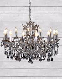 12 branch chrome and mirrored crystal chandelier