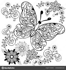 Hand Getekend Bloemen En Vlinders Voor De Anti Stress Kleurplaat