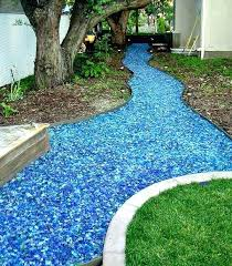 tumbled glass mulch glass mulch pounds large raindrop landscape glass example of glass mulch being used