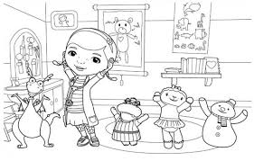 Small Picture Doc McStuffins and Friends are Happy Together Colouring Page Fun