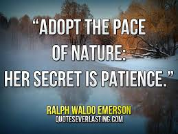 "Adopt The Pace Of Nature Her Secret Is Patience"" Ralph Waldo Enchanting Emerson Nature Quotes"