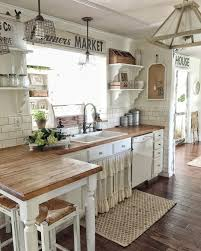 eye catching rustic kitchen cabinets. Like The Butcher Block With Darker FloorsWhite Cabinets, Appliances. Best Images Farmhouse Kitchen Cabinets Ideas #rustic Eye Catching Rustic