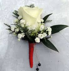 deluxe rose boutonniere with ribbon stem wrap