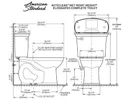 dimensions of standard toilet. american standard acticlean toilet dimensions of d